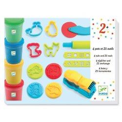 4 pots + 21 outils pâte à modeler Djeco - Coffret