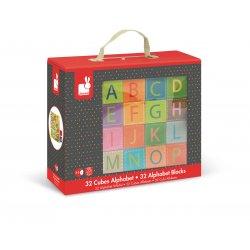 32 cubes alphabet Kubkid Janod - Coffret