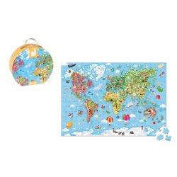 Puzzle géant carte du monde 300 pièces - Janod - Boite ronde