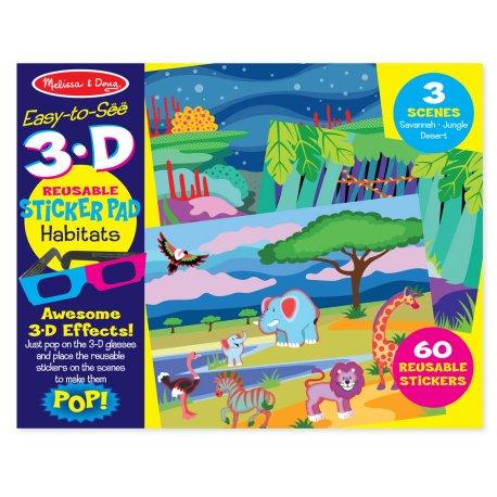 Stickers 3D réutilisables Animaux - Pochette