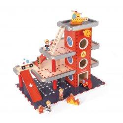 Caserne de pompiers jouet en bois