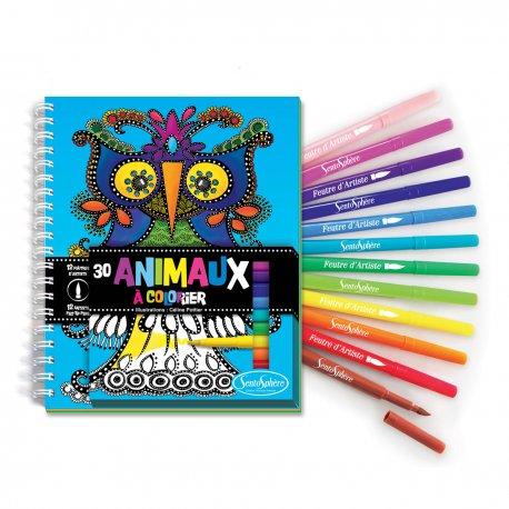 Carnet de coloriage Animaux + feutres pinceaux