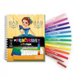 Carnet de coloriage Princesses + feutres pinceaux