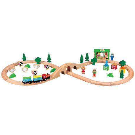 Circuit de Trains en bois - 50 pièces