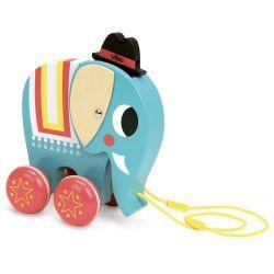 Vito l'éléphant à traîner - tête baissée avec son chapeau