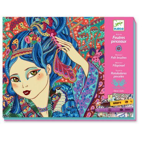 Atelier feutres pinceaux - Jeunes filles aux cerisiers - coffret