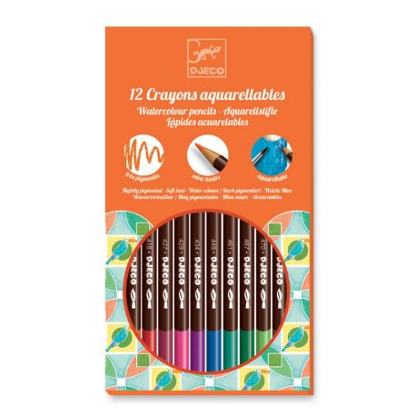 12 crayons aquarellables djeco