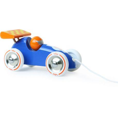 Jouet à traîner Voiture de course bleue et orange