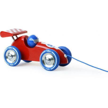 Jouet à traîner Voiture de course rouge et bleue