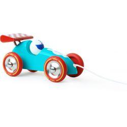 Jouet à traîner Voiture de course turquoise et rouge