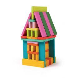 75 Blocs de construction en bois de couleurs