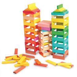 150 Blocs de construction en bois de couleurs