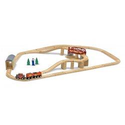 Circuit de train en bois avec pont pivotant