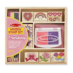 Coffret tampons en bois - coffret amitié