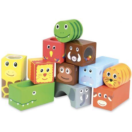 Cubes sonores en bois Animaux de la savane