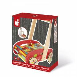 Chariot de marche avec cubes en bois ABC Buggy Tatoo