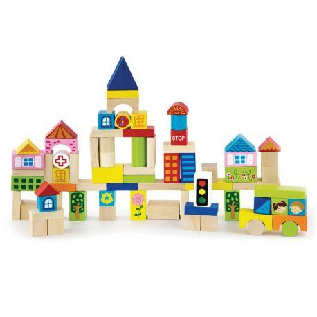 Baril de cubes en bois - Ville - 75 pièces
