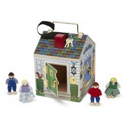 Jeu de verrous maison en bois avec sonnettes et personnages