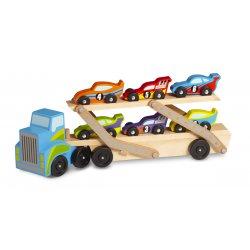 Camion porte voiture avec 6 voiture de courses
