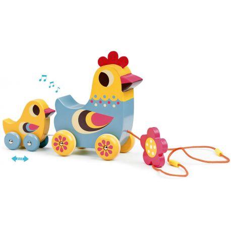 La poule et le poussin jouet musical à traîner