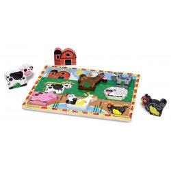 puzzle en bois a encastrement animaux de la ferme - figurines