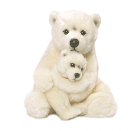 Maman Ours polaire 28 cm, avec bébé