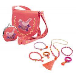 pack sac brodé oiseau et bijoux pompons et rubans