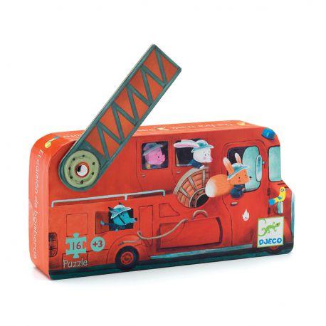 Puzzle Le camion de pompier Djeco - Boîte silhouette