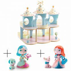 Pack Ze princesses Castle et 2 princesses accompagnées de leurs animaux préférés