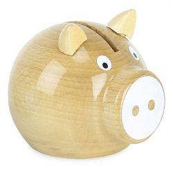 Tirelire cochon bois naturel nez blanc