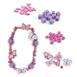 450 Perles en bois : Papillons