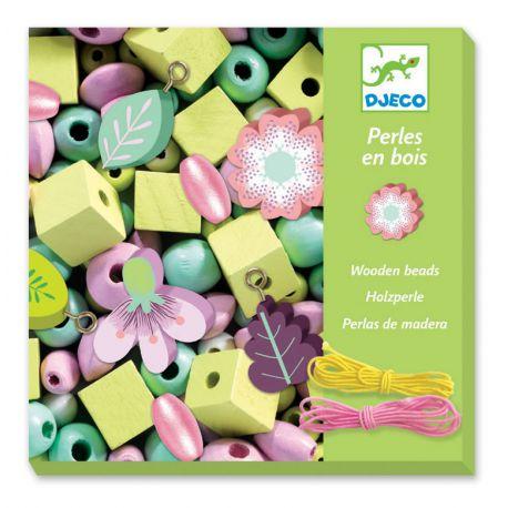 450 Perles en bois : Feuilles et fleurs
