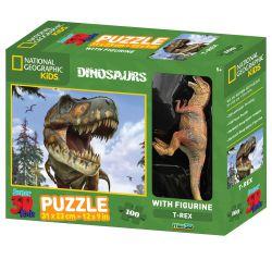 Puzzle T Rex hologramme 3D avec figurine - 100 pièces
