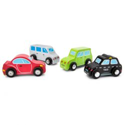 4 petites voitures en bois