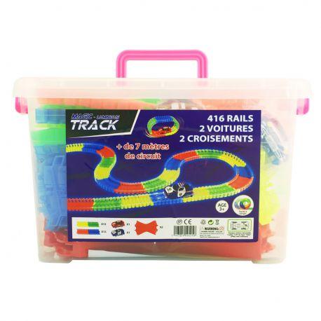 Mega kit Magic Tracks 416 pièces + 2 voitures + 2 croisements