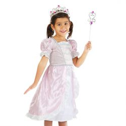 petite fille déguisée en princesse avec robe rose