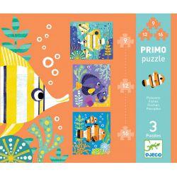 3 Puzzles 3 ans primo poissons de 9 à 16 pièces