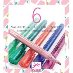 6 marqueurs pailletés - sweet