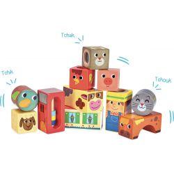 Cubes sonores en bois Animaux de la ferme
