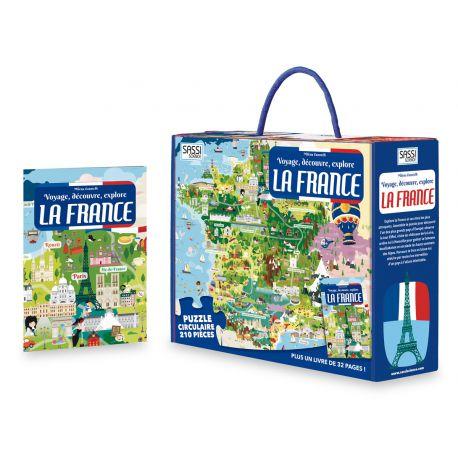 Voyage, découvre, explore la France - puzzle + livre