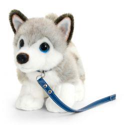 Peluche Husky avec laisse 30 cm