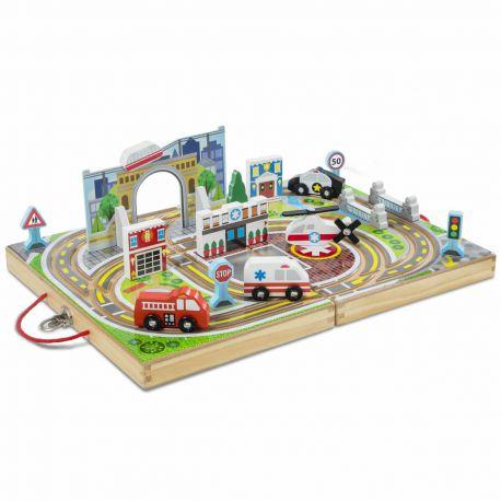 Circuit de train en bois ville à emporter