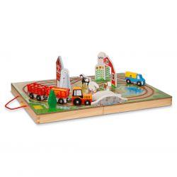 Circuit de train en bois ferme à emporter