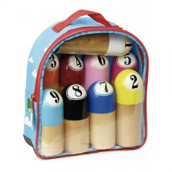 Jurassik' jeu de 9 quilles Vilac dans leur sac à dos