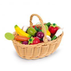 Panier de 24 fruits et légumes en bois