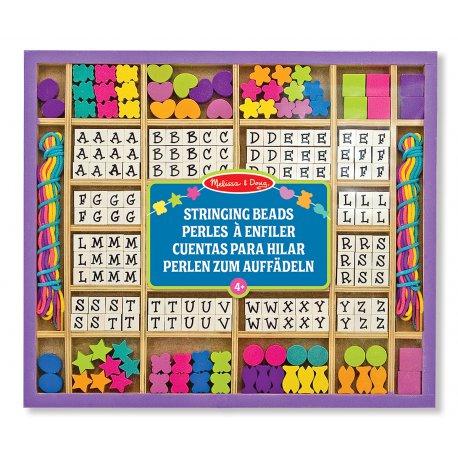 Perles en bois à enfiler - 200 lettres et formes- Melissa et Doug