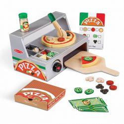 Comptoir de marchand de pizza en bois - vue d'ensemble