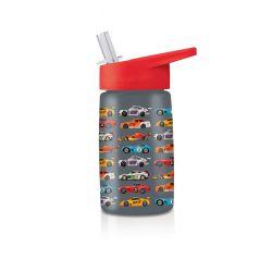 Gourde Course de voitures avec paille sans BPA