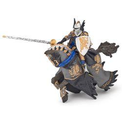 Figurine Prince noir au dragon et son cheval Papo