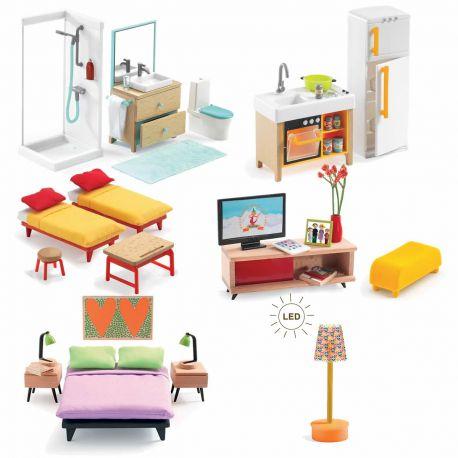 Petit pack mobilier pour maison de poupées Djeco